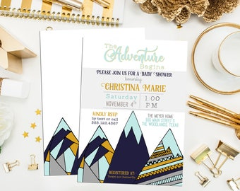 Mountain Baby Shower Invitation. Printable Adventure Baby Shower. Mountain Bridal Shower. Navy Mustard Mountain Shower Invite. Rustic Shower