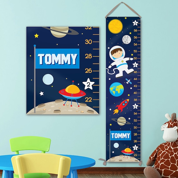 Space Growth Chart Personalized on Canvas - Solar System Kids Art, Astronaut Kids Art, Outer Space Nursery - GC4003B