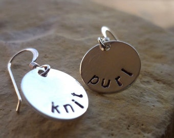 handstamped sterling silver earrings dangle custom knit and purl