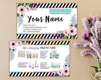 Rodan and Fields, Business Cards, Give it a Glow, Mini Facial Cards, Love Your Skin, Instructions, Floral, Digital, Printable