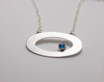 Sterling Silver Orbit Pendant with London Blue Topaz on Cable Chain Necklace