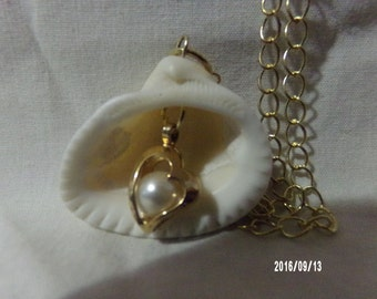 Gold Heart and Pearl Seashell Pendant Necklace