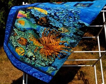 Tropical fish quilt lap size
