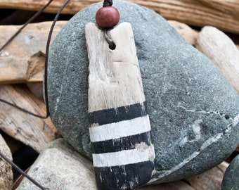 FREE SHIPPING Driftwood pendant - Driftwood necklace - Driftwood jewelry - wood bead - Authentic driftwood - Painted driftwood - Cotton cord