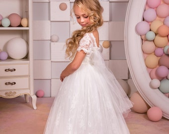 Ivory Lace Flower Girl Dress - Bridesmaid Holiday Wedding Party Birthday Tulle Lace Ivory Flower Girl Dress 14-705
