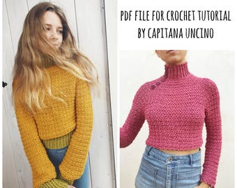 PDF-file for Crochet PATTERN, Elsa Jumper, Sweater, 3 different Sizes: S, M and L