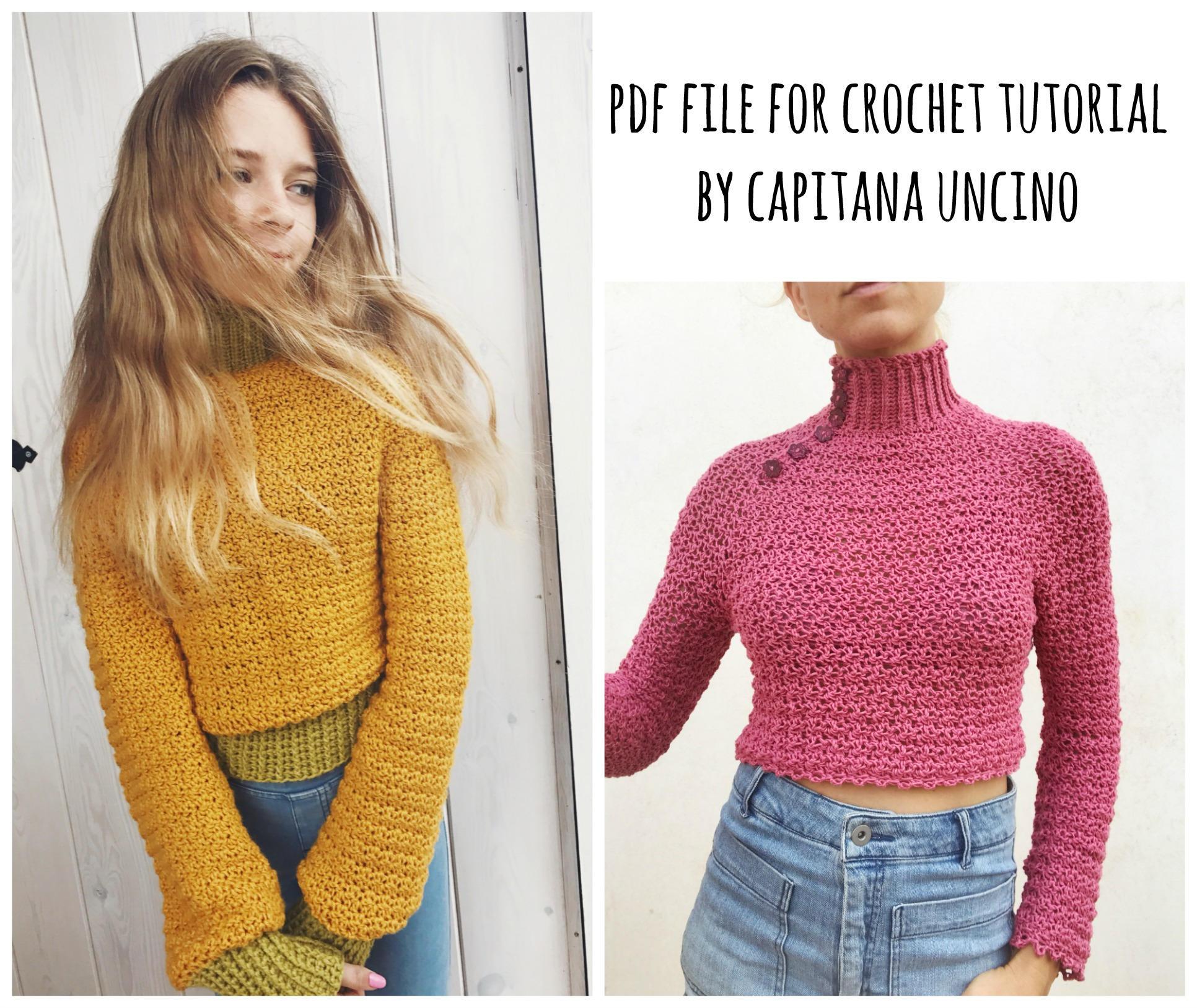 PDF-file for Crochet PATTERN, Elsa Jumper, Sweater, 3 different ...