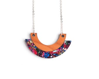 Double Curves Necklace - Laser Cut Acrylic Necklace - Wooden Necklace