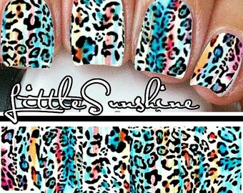 Wild ANIMAL Print Waterslides Nails Decals Water Transfer Nail Stickers Full Wraps Strips LEOPARD Cheetah Design A113