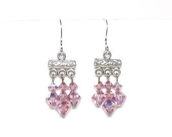 Light amethyst earrings, Swarovski crystal, spring earrings, purple earrings, sterling silver links, sterling silver earwires