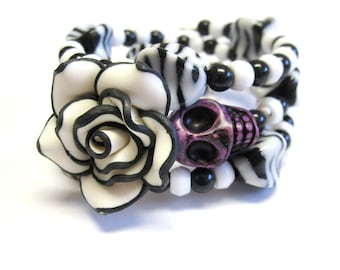Sugar Skull Bracelet Day Of The Dead Jewelry Black White Purple