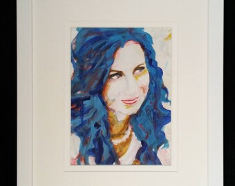 "Acrylic Original Painting, 11"" x 13"" Fine Art Acrylic Portrait Expressionism Acrylic Paintings, Framed under Glass, Original Art, Artist"