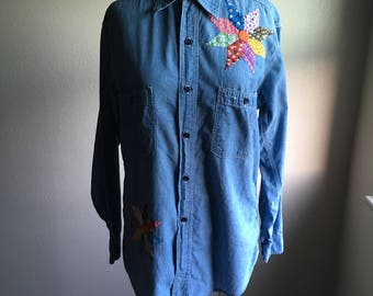 vintage 70s chambray three stitching crazy quilt embroidered patchwork blue collar work wear long sleeve shirt