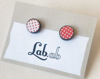 Pow! MINI - mismatch red&white pois - Paper on Wood earrings - stud earrings - pois
