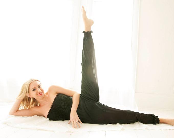 Vintage black strapless pantsuit nightie, lace nylon harem pants sexy high-waist romper jumpsuit lingerie bodysuit 1980s S M