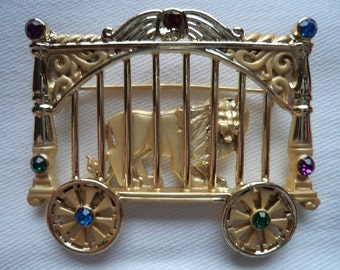 REDUCED Vintage Signed AJC Goldtone Lion in Circus Cage Brooch/Pin