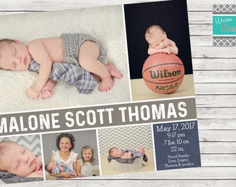 Birth Announcement Single Sided Horizontal- Printable
