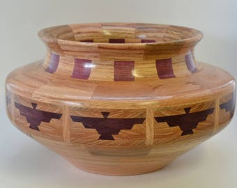 Segmented bowl, with thunderbird feature ring. #130