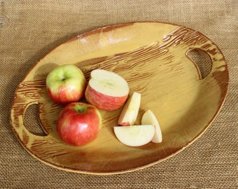 Stoneware holiday tray, Hand built oval pottery serving platter with handles, ceramic serving dish