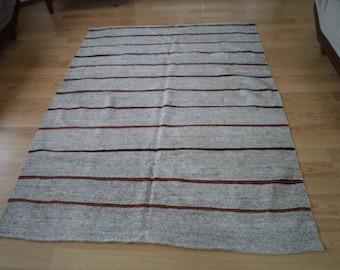 free shipping VINTAGE TURKİSH  kilim Anatolian handwoven kilim rug  decorative kilim - SİZE : 61'' X 80 '' (153 cm X 200 cm)