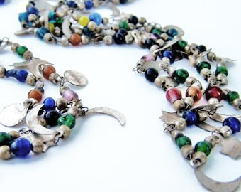 Vintage Celestial Rustic Tin Charms and Glass Bead Long Double Strand Necklace