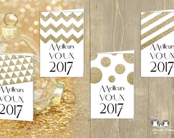4 Greeting Cards / GEOMETRIC CHIC GOLD, triangles, lines, zigzag, round, Scandinavian / downloadable / printable / 10x15cm