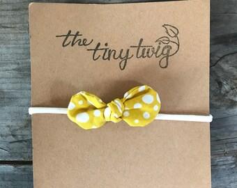 Mustard Polka Dot Knot Bow