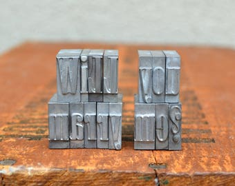 Will you marry me - Vintage letterpress metal type - Valentine's day gift - unique engagement, marriage proposal, unique wedding - TS1005