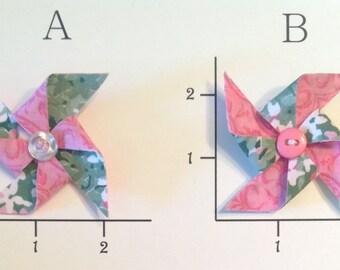 Light Pink & Sage Green Pinwheel Hair Clip