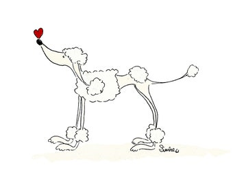 The Poodle and the Heart  - A4 Print or A5 or A6 blank card