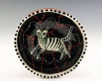 Chubby Kitty - Original Painting by Jenny Mendes in a Hand Pinched Ceramic Finger Bowl