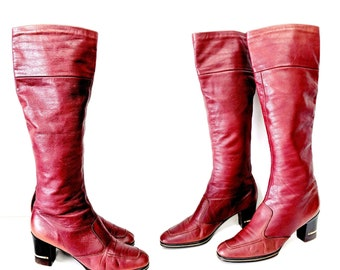 Vintage 60's Burnt Red Knee High Boots/Size 10N/Women's Boots/Mod 60's