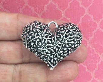 1 Silver Heart Charm Pendant 32x41mm by TIJC SP0639