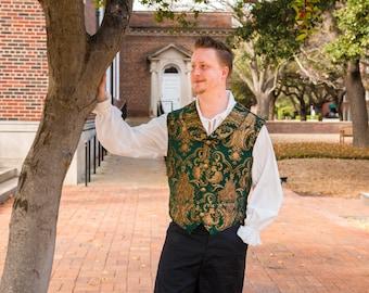 Green and Gold Vest, Men's Victorain Vest, Steampunk, Victorian, Renaissance, Pirate, Halloween, Costume, Victorian Vest, Dickens, Wedding