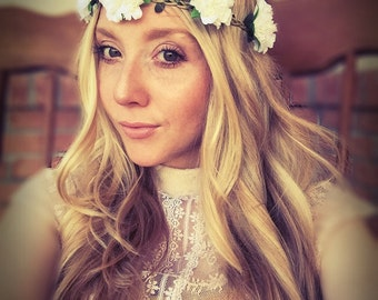 White flower crown etsy wedding floral headbandwhite flower crowncarnationfestivalhair jewelryboho mightylinksfo