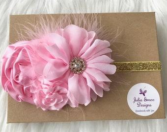 Pink & Gold Headband, Pink Baby Headband, Pink Headband, Baby Headband, Baby Girl Headband, Infant Headband, Birthday Headband, Baby Girl