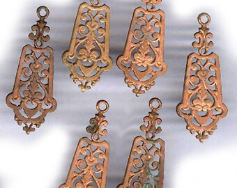 vintage BRASS FILIGREE charm GOTHIC victorian drop ornate pendant three drops or charms