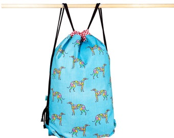 Greyhound bag/ fabric bag/ backpack sack/ colorful greyhound/ /strong twill fabric/ greyhound mosaic print/ 100% cotton/ inside pocket.