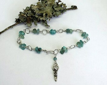 Sterling Silver and Apatite Bracelet with a Goddess Charm
