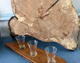 Reclaimed Oak Whisky barrel stave shot glass holder, or tealight votive holder