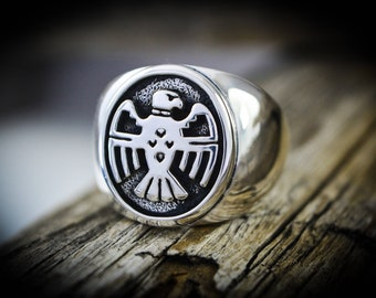 Sterling silver shadowboxed vintage Thunderbird designed ring Size - 8 thru 14.5 available