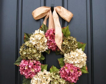 Spring Wreaths for Front Door, Wreaths, Wreath, Etsy Wreaths, Spring Hydrangea Wreath, Front Porch Wreath, Pink Hydrangeas