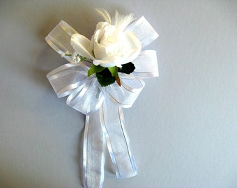 Wedding bow, Gift for brides, Bridal shower decoration, White feather gift bow, Gift decoration, Gift bow, Gift wrapping, Handmade bow