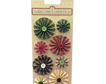 8 FLOWERS ACCORDION TONE RED GREEN EMBELLISHMENT BUTTONS SCRAPBOOKING SCRAP BELLE AND BOO