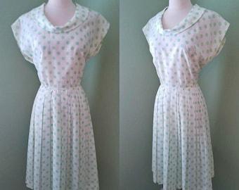 1950s Lime Green Polka Dot Dress