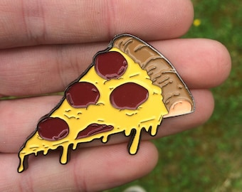 Dripping Cheese and Pepperoni Pizza slice hard enamel pin badge