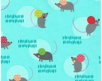 Mice on Blue (Garden) from Robert Kaufman's Creatures and Critters 3 Collection