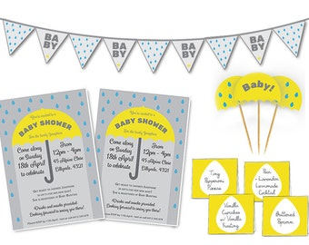 Gender Neutral Baby Shower Theme | Yellow and Grey | Custom Party Set