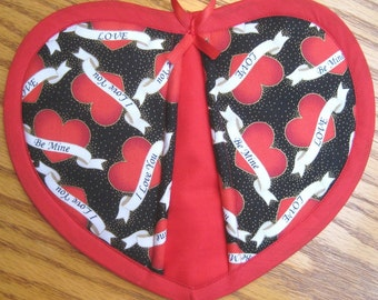 Tattoo Hearts with Messages Potholders - Set of 2