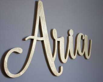 Custom Name Sign, Wooden Letters, Calligraphy Name, Baby Name Sign, Beautiful, Baby Girl Name Cut Out, Gold Nursery Decor